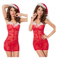 Christmas Style Sexy Underwear Lingerie with Hat for Women - Red