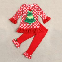 Kids Girls Christmas Tree Printed Lace Tops Pants Clothes Set Children Clothing Christmas Costume Cotton High Quality Clothes
